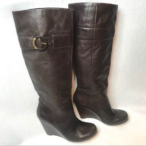 GUESS Leather Thigh High Wedge Boot